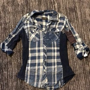 Tops - Plaid button down shirt. New with tags!